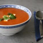 Paprika-tomatensoep met mascarpone